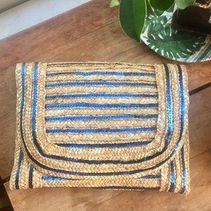 Poppie Jones Blue Sequin Straw Clutch